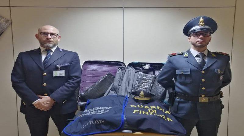 Eroina nel doppiofondo della valigia, arrestato all'aeroporto un uomo proveniente dal Sudafrica