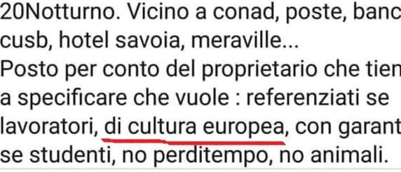 Non si affitta ai non europei