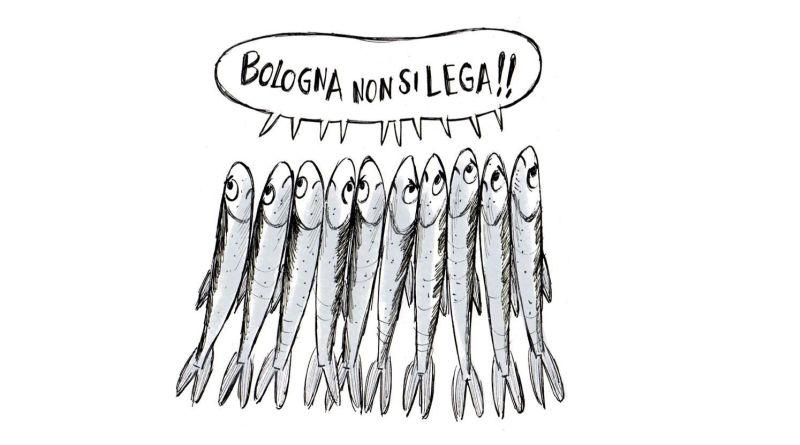 utti vestiti da sardine, la protesta contro Salvini a Bologna