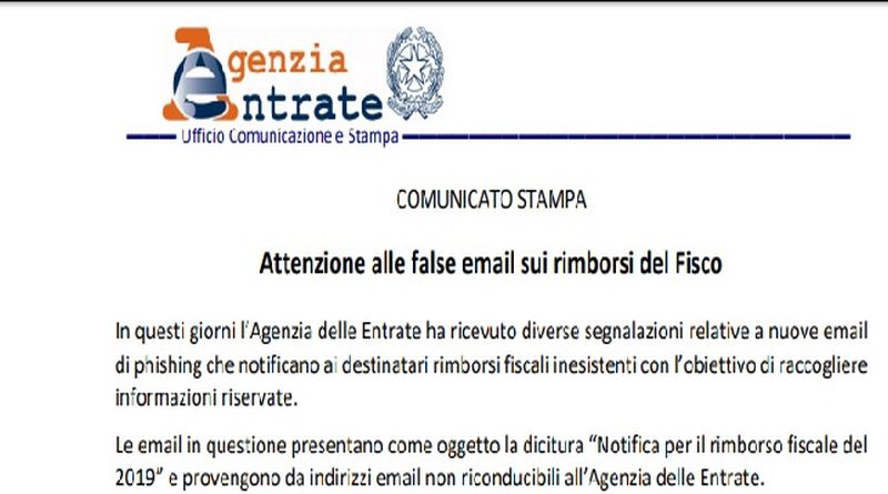 agenzia entrate email fake