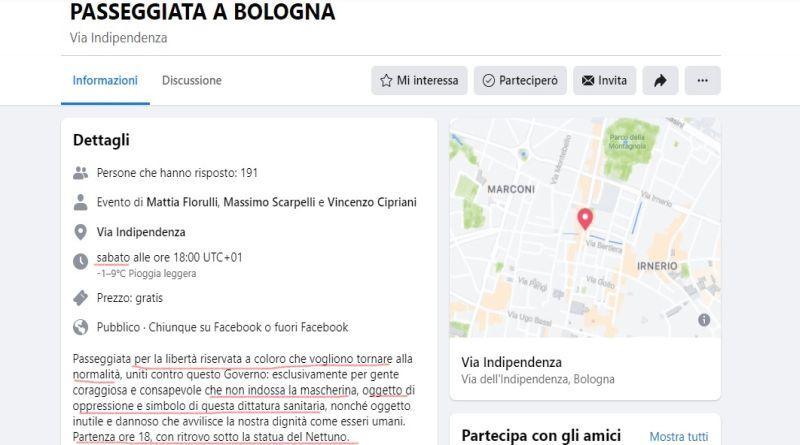 manifestazione bologna no vax negazionisti dittatura sanitaria halloween pub zona rossa