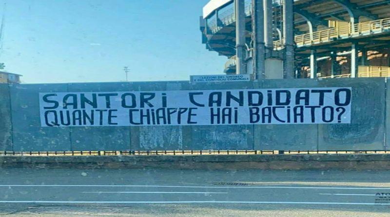 Striscione fascista contro Mattia Santori apparso davanti allo stadio di Bologna